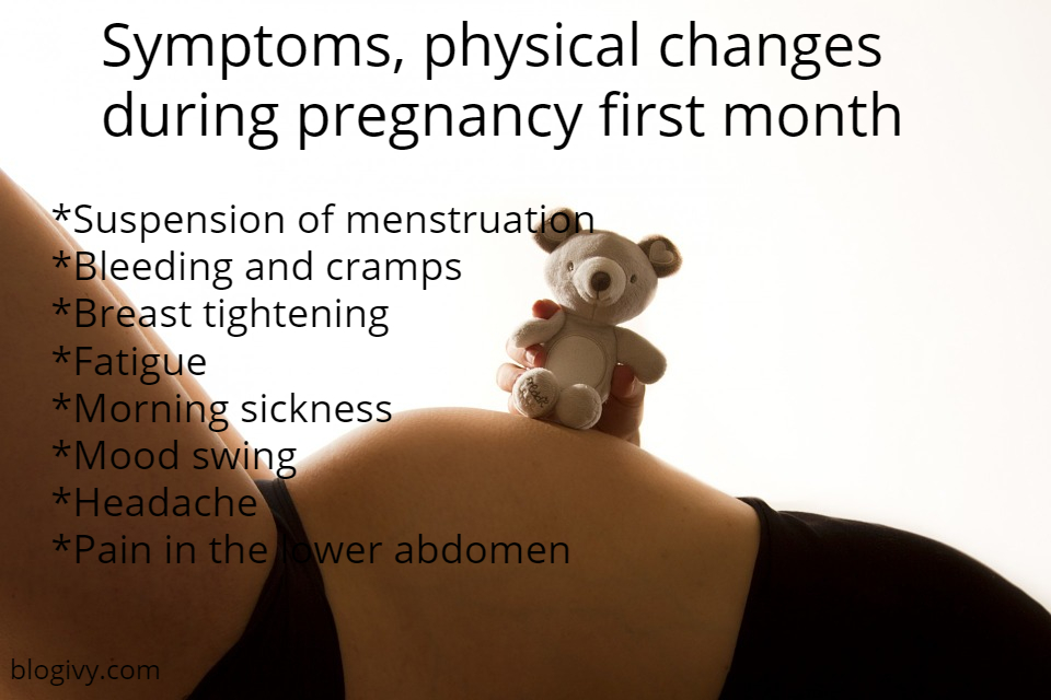 Symptoms, physical changes during pregnancy first month